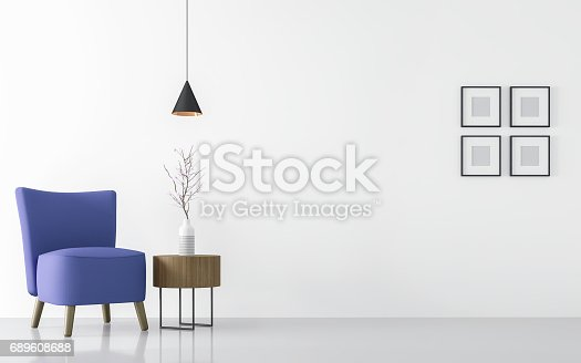 istock Modern white living room interior with blue armchair 3d rendering 689608688