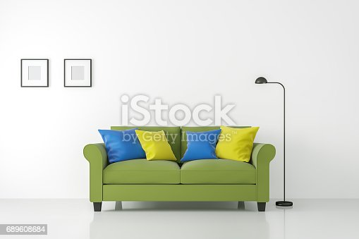 902720222istockphoto Modern white living room interior with colorful sofa 3d rendering 689608684