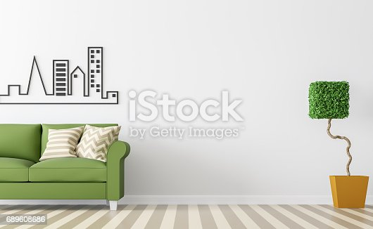902720222 istock photo Modern white living room interior with green sofa 3d rendering Image 689608686