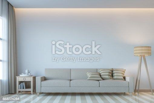 658604764 istock photo Modern white living room minimal style 3D rendering Image 653224254