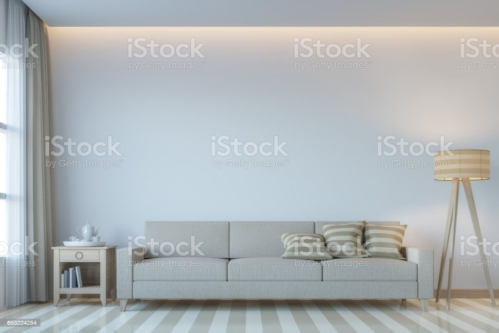 Modern white living room minimal style 3D rendering Image stock photo