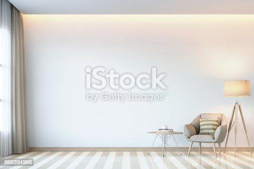 istock Modern white living room minimal style 3D rendering Image 666394966