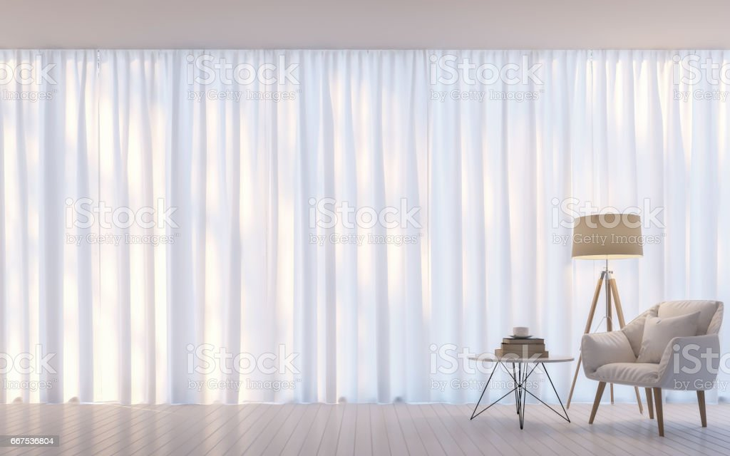 Modern white living room minimal style 3D rendering Image stock photo