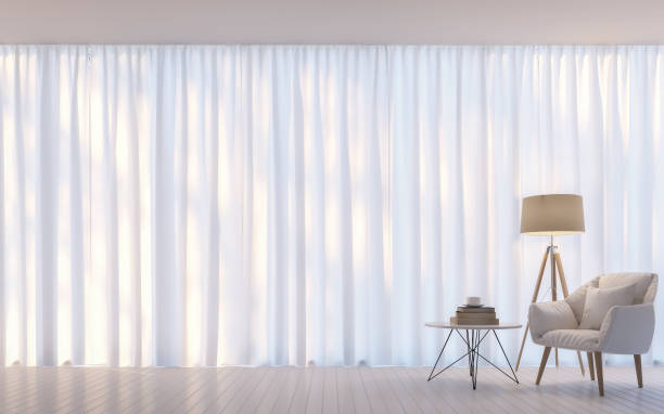 modern white living room minimal style 3d rendering image - curtain stock pictures, royalty-free photos & images