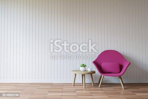 istock Modern white living room vintage style  3d rendering image 824683236
