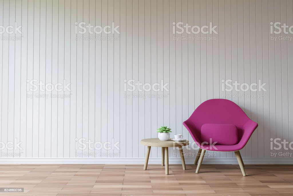 Modern white living room vintage style  3d rendering image stock photo