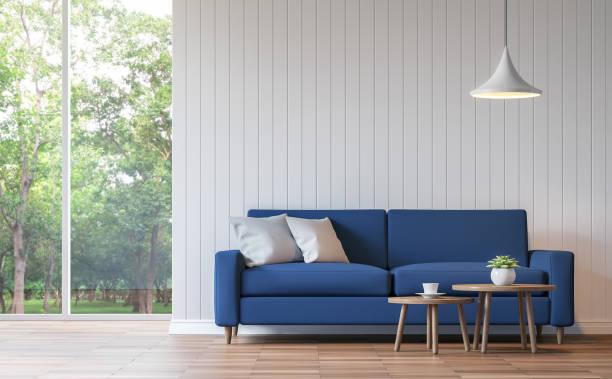 Modern white living room vintage style  3d rendering image stock photo