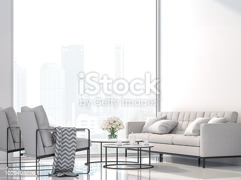 1066863894 istock photo Modern white living room with city view 3d render 1029403226
