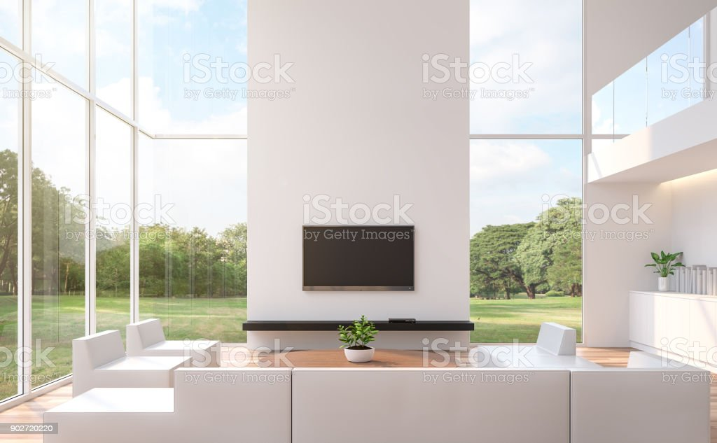Modern White Living Room With Nature View 3d Rendering Image Stock ...