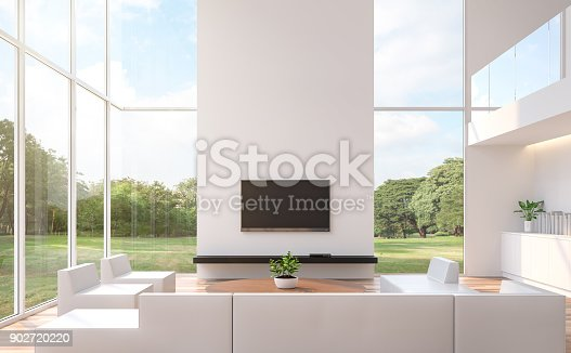 994217090istockphoto Modern white  living room with nature view 3d rendering image 902720220
