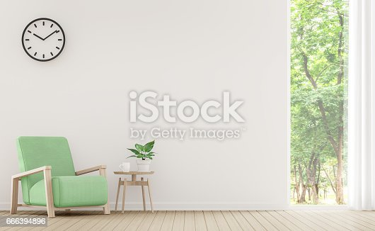 902720222 istock photo Modern white living room with pastel furniture 3d rendering image 666394896