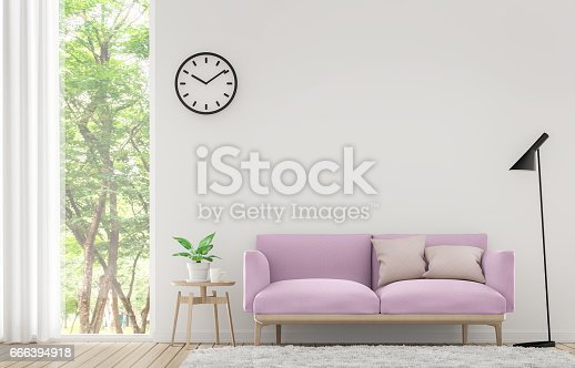 902720222istockphoto Modern white living room with pastel furniture 3d rendering image 666394918
