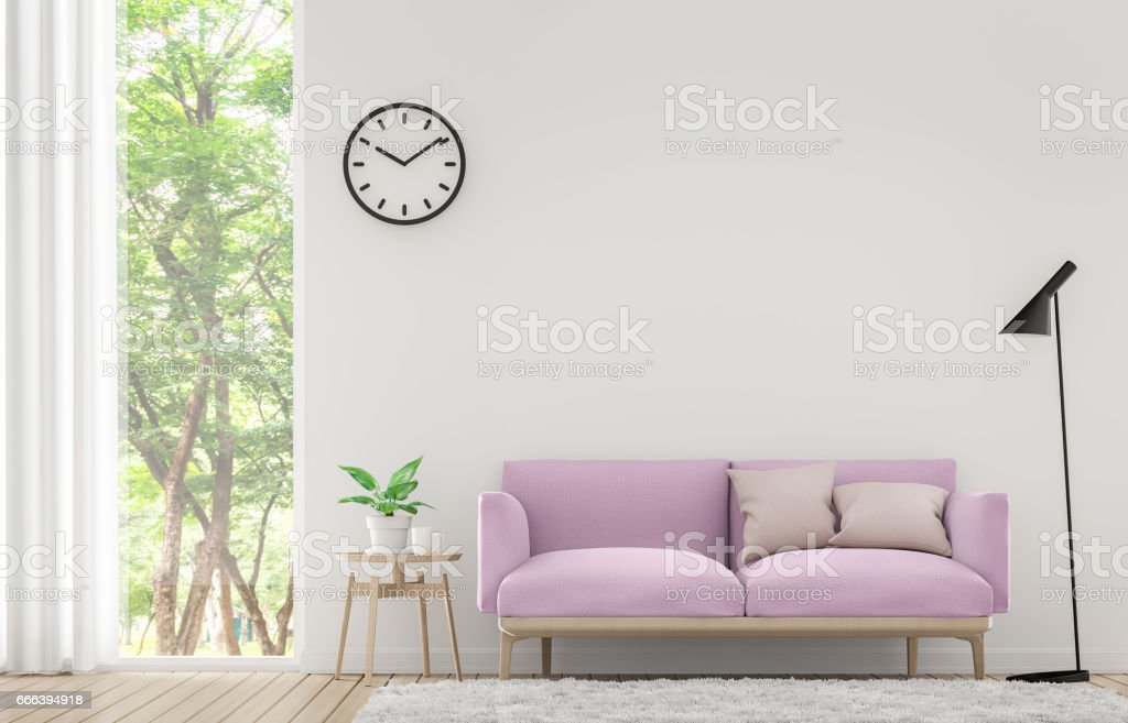 Modern white living room with pastel furniture 3d rendering image stock photo