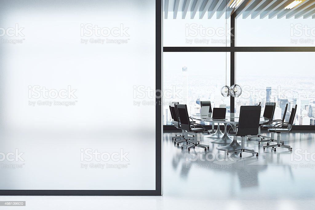 Modern white meeting room with copyspace stock photo