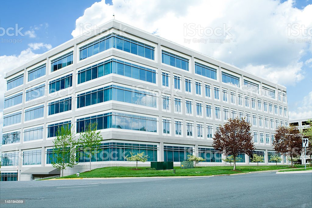 A modern white office building in Maryland stock photo