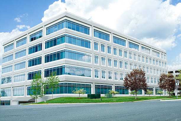 A modern white office building in Maryland New office building in suburban Maryland, United States.   - See lightbox for more right angle stock pictures, royalty-free photos & images