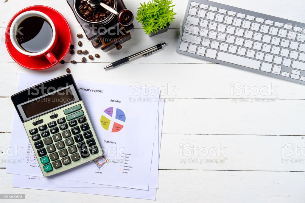 Modern White office desk table royalty-free stock photo