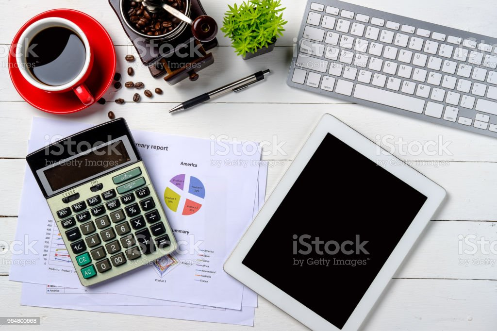 Modern White office desk table royalty-free stock photo