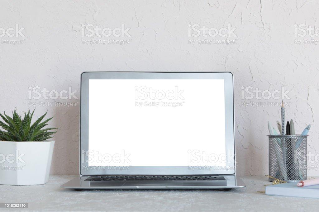 Photo de stock de table de bureau moderne blanc bureau avec