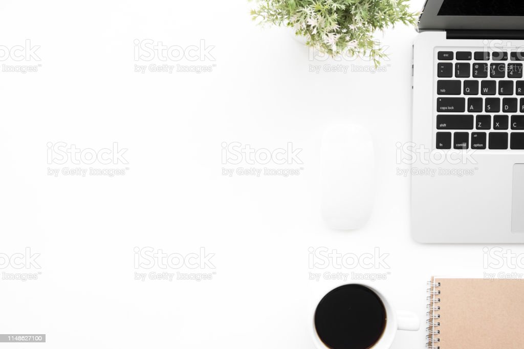 Modern White Office Desk Table With Laptop Computer And Supplies Top View  With Copy Space Flat Lay Stock Photo   Download Image Now