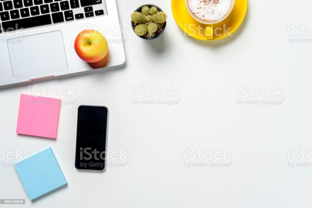 Modern White office desk table with supply zbiór zdjęć royalty-free