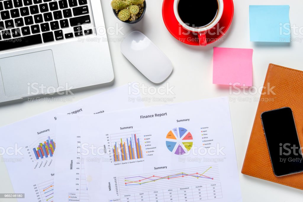 Modern white office desk table with supply. royalty-free stock photo