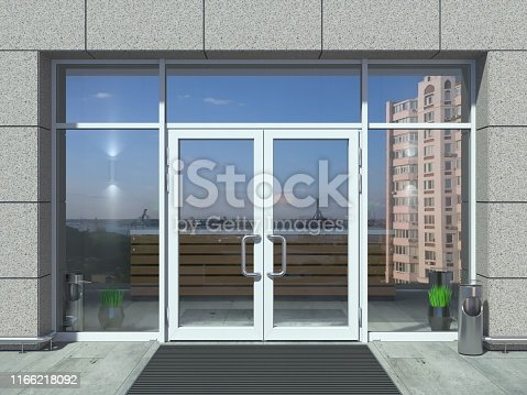 3D illustration. The facade of a modern shopping center or station, an airport with modern white office entrance door