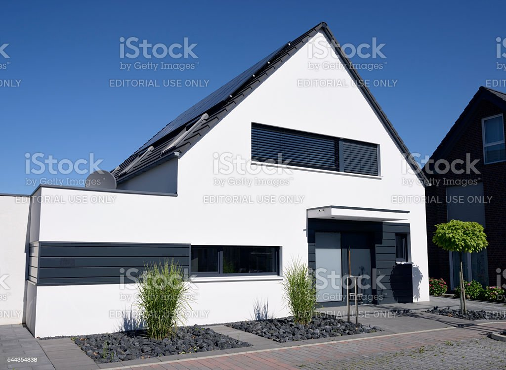 Modern white one-family house stock photo