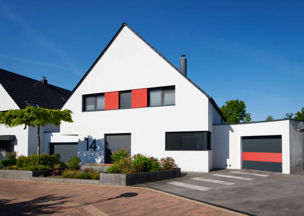 Modern white one-family house with garage stock photo