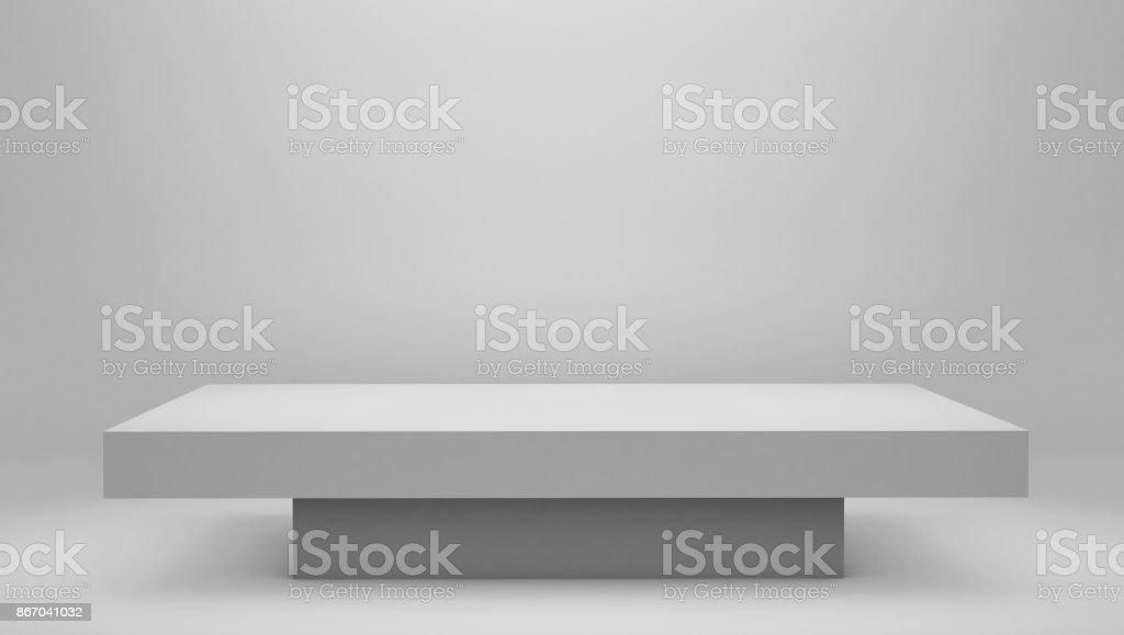 modern white podium Pedestal Platform, space backdrop stock photo