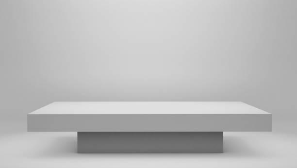 modern white podium pedestal platform, space backdrop - construction platform stock pictures, royalty-free photos & images
