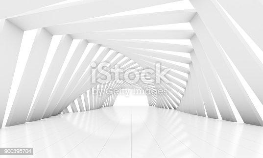 istock Modern white room background rectangular twist decorate 900395704