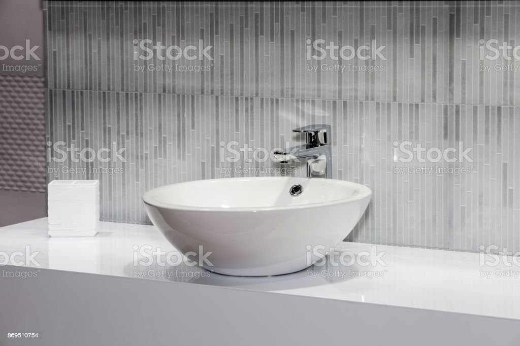 Modern white sink stock photo