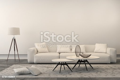 istock Modern white sofa in a living room 579146864