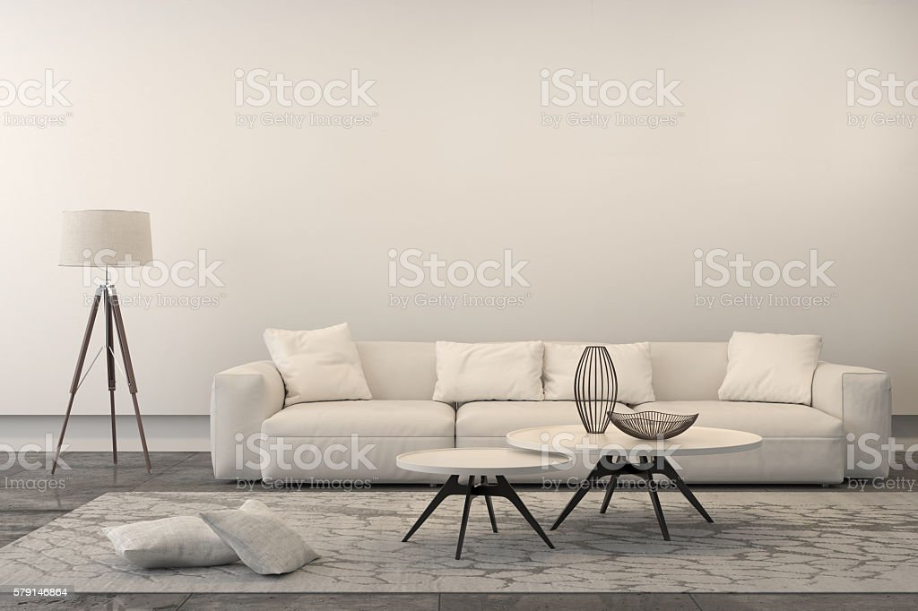 Modern White Sofa In A Living Room Stock Photo