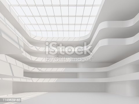 istock Modern white space building hall interior 3d render 1143839183