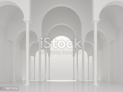 istock Modern white space interior with asch shape 3d render 1128375203