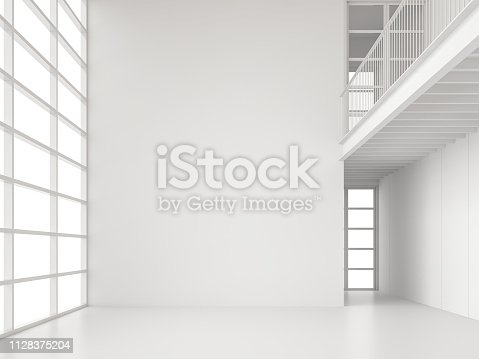 istock Modern white space interior with large window 3d render 1128375204
