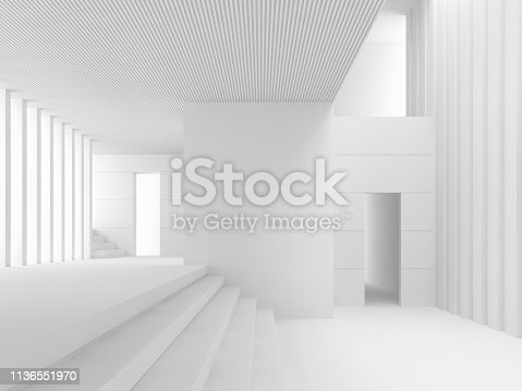 istock Modern white space interior with many levels 3d render 1136551970
