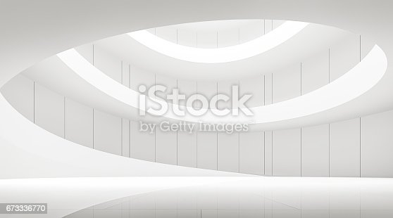 658604764istockphoto modern white space interior with spiral ramp 3d rendering image 673336770