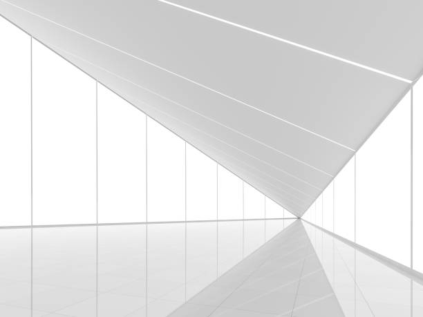 Modern white space interior with triangle shape 3d render stock photo