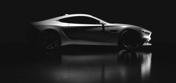 Modern white sports car on black background. Side view stock photo