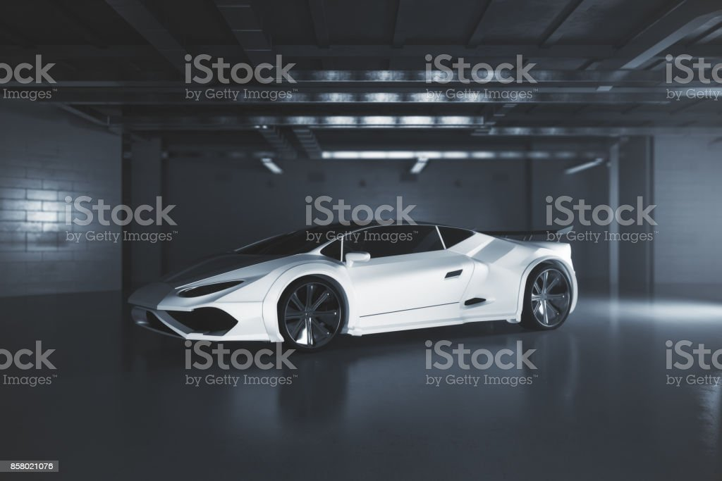 Moderno auto deportivo blanco lado - foto de stock