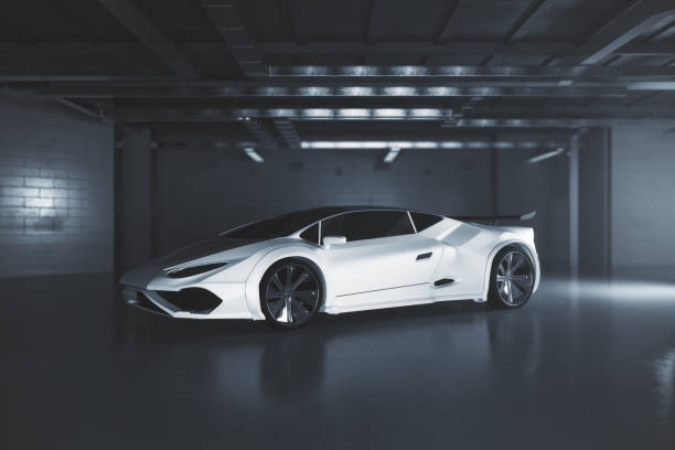 Modern white sportscar side Side view of modern white sportscar inside grunge garage. Race concept. 3D Rendering sports car stock pictures, royalty-free photos & images