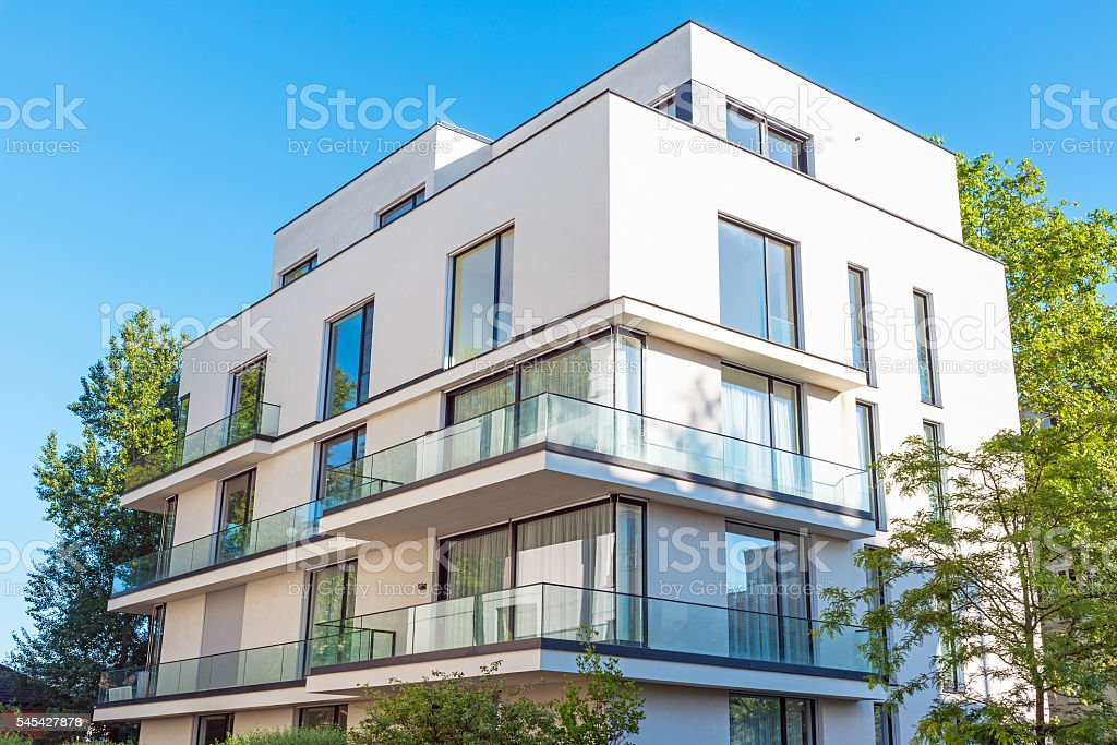 Modern white townhouse in Berlin stock photo
