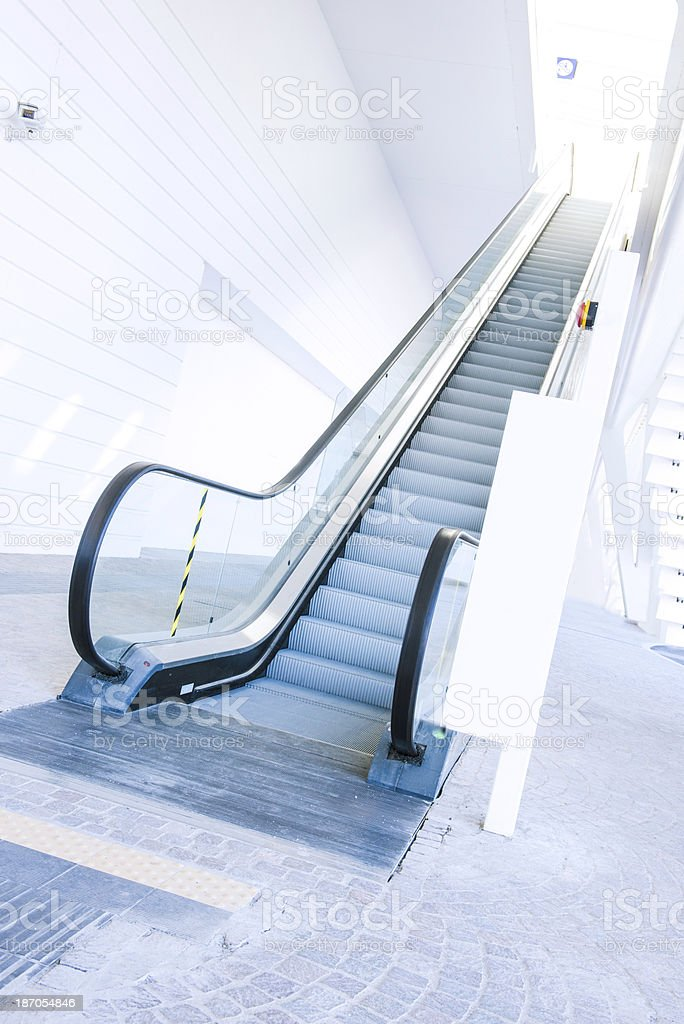 Modern White Train Station Entrance with Escalator stock photo