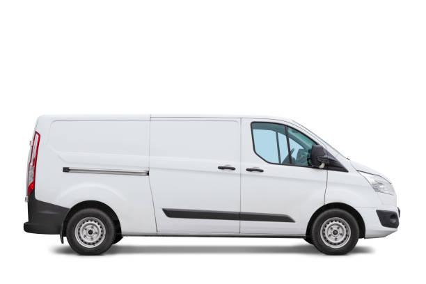 Modern white van isolated on white stock photo