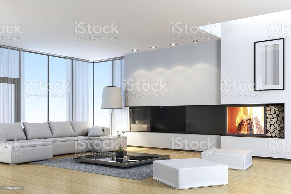 Modernen Weißen Villa Mit Fernseher U0026 Kamin Lizenzfreies Stock Foto