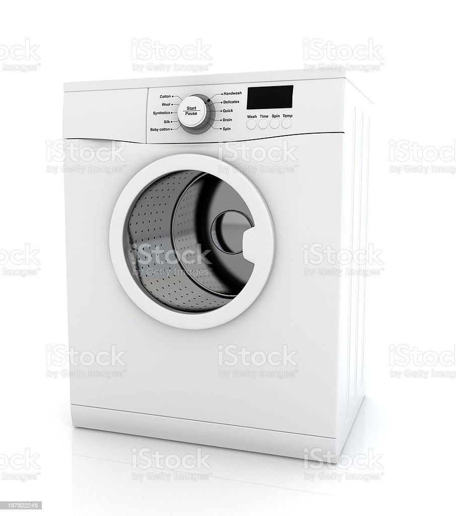 Modern white washing machine appliance stock photo