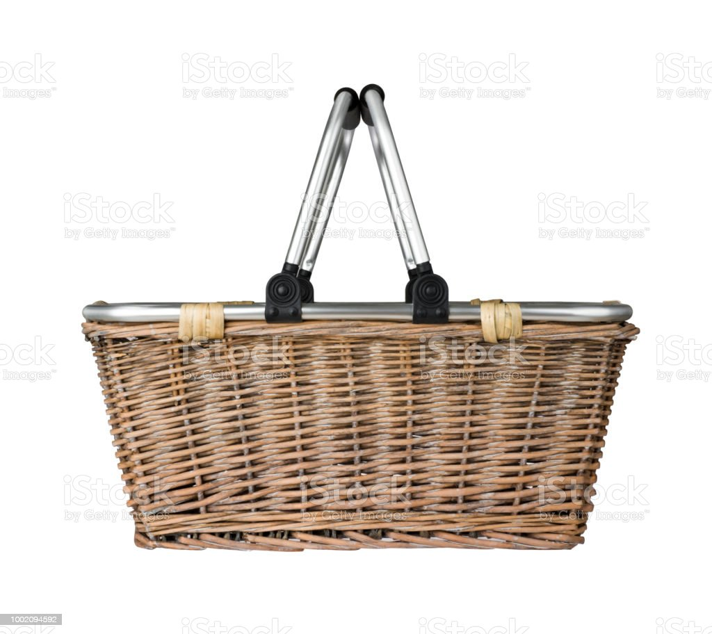 Modern wicker basket with metal handle, cut out side view stock photo